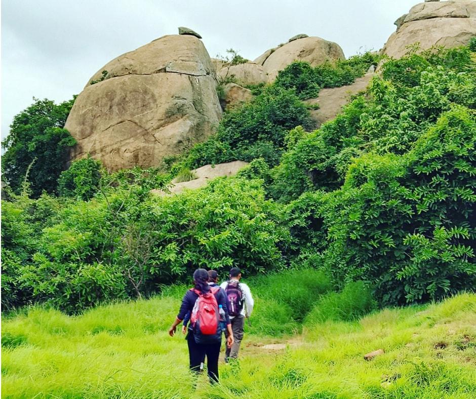 Hikers on Hutridurga trek, a popular weekend trek near Bangalore
