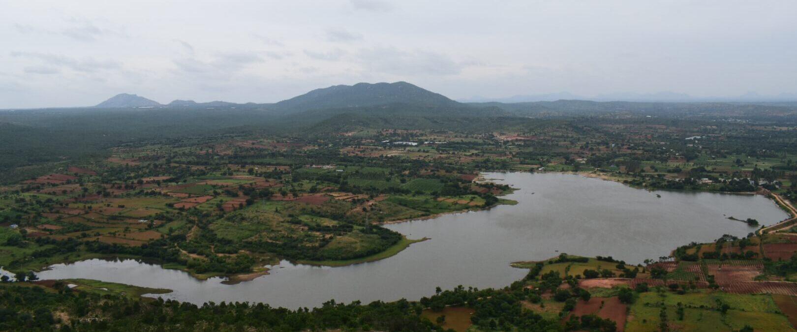 View of Gundamagere lake as seen from Makalidurga trek trail
