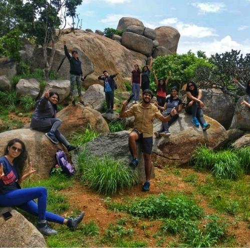 11Trekkers posing for a pic at the peak of Hutridurga hill